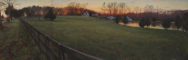 Daniel Robbins, 'The Mehrige Farm', 30 x 90, Oil on Canvas on Panel
