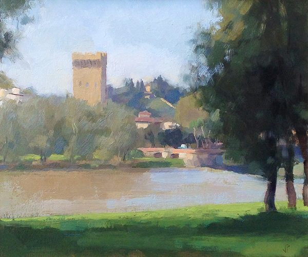 Jussi Poyhonen, 'San Niccolo Tower', 10 x 12, Oil on Linen
