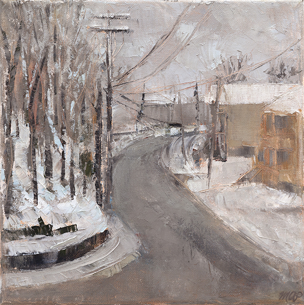 Michelle Arnold Paine, 'South Street, Snowy Day', 12 x 12, Oil on Canvas