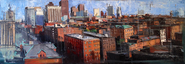 Gregory Prestegord, 'Boston Rooftops', 21 x 59, Oil on Panel, 2014