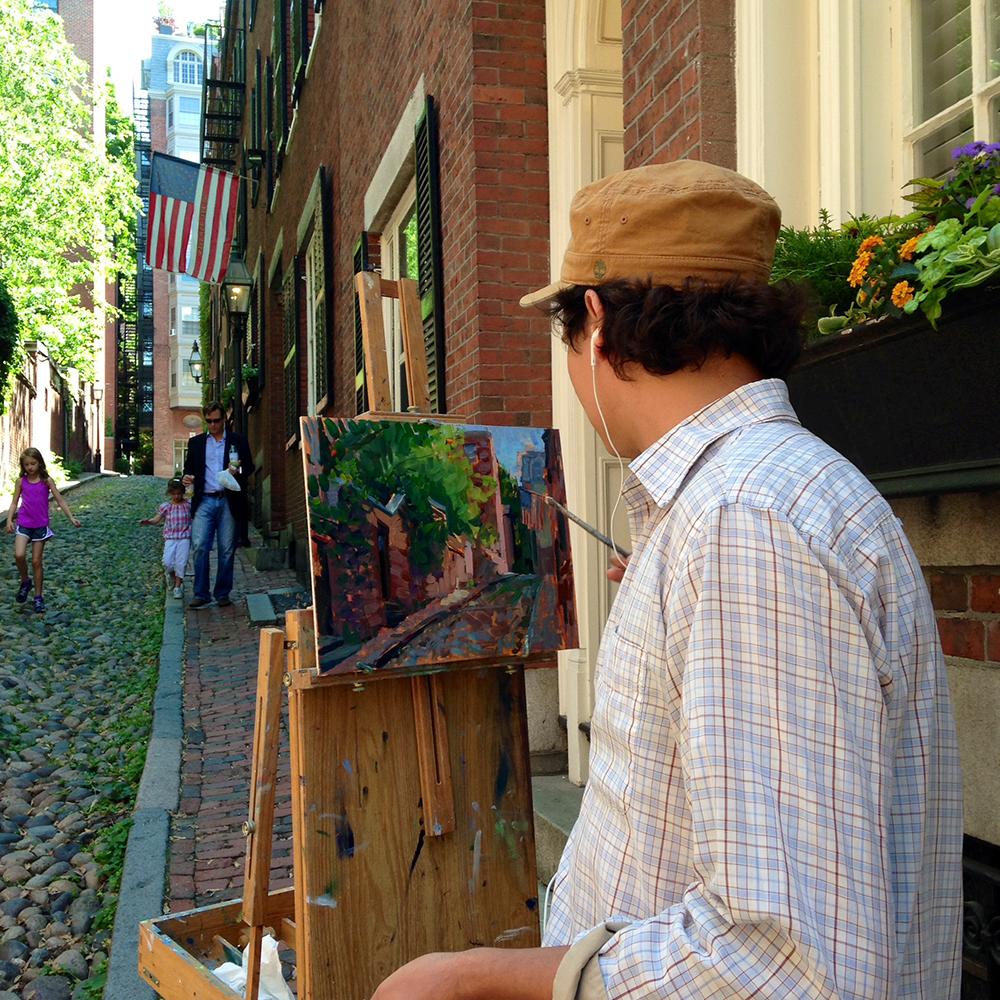 Gallery artist Leo Mancini-Hresko capturing the beauty of Acorn Street