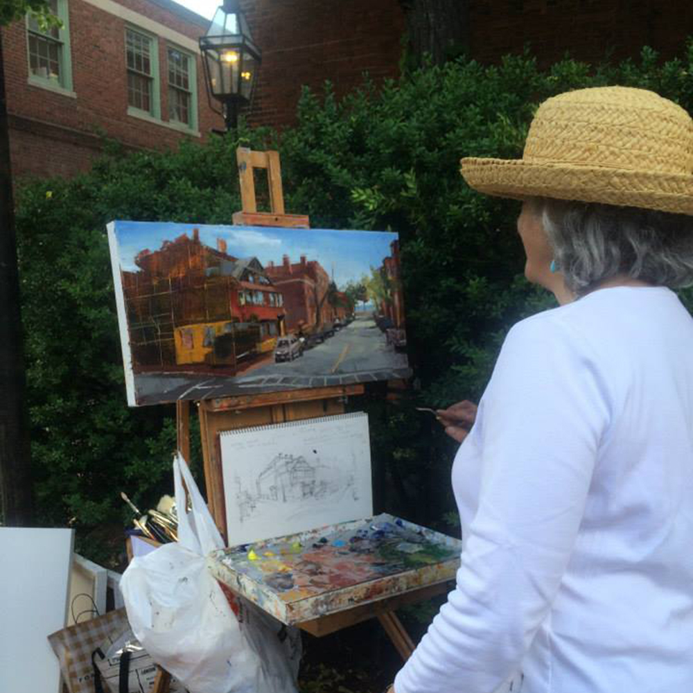 Janet Amphlett paints down Mt. Vernon Street including the famous Sunflower House