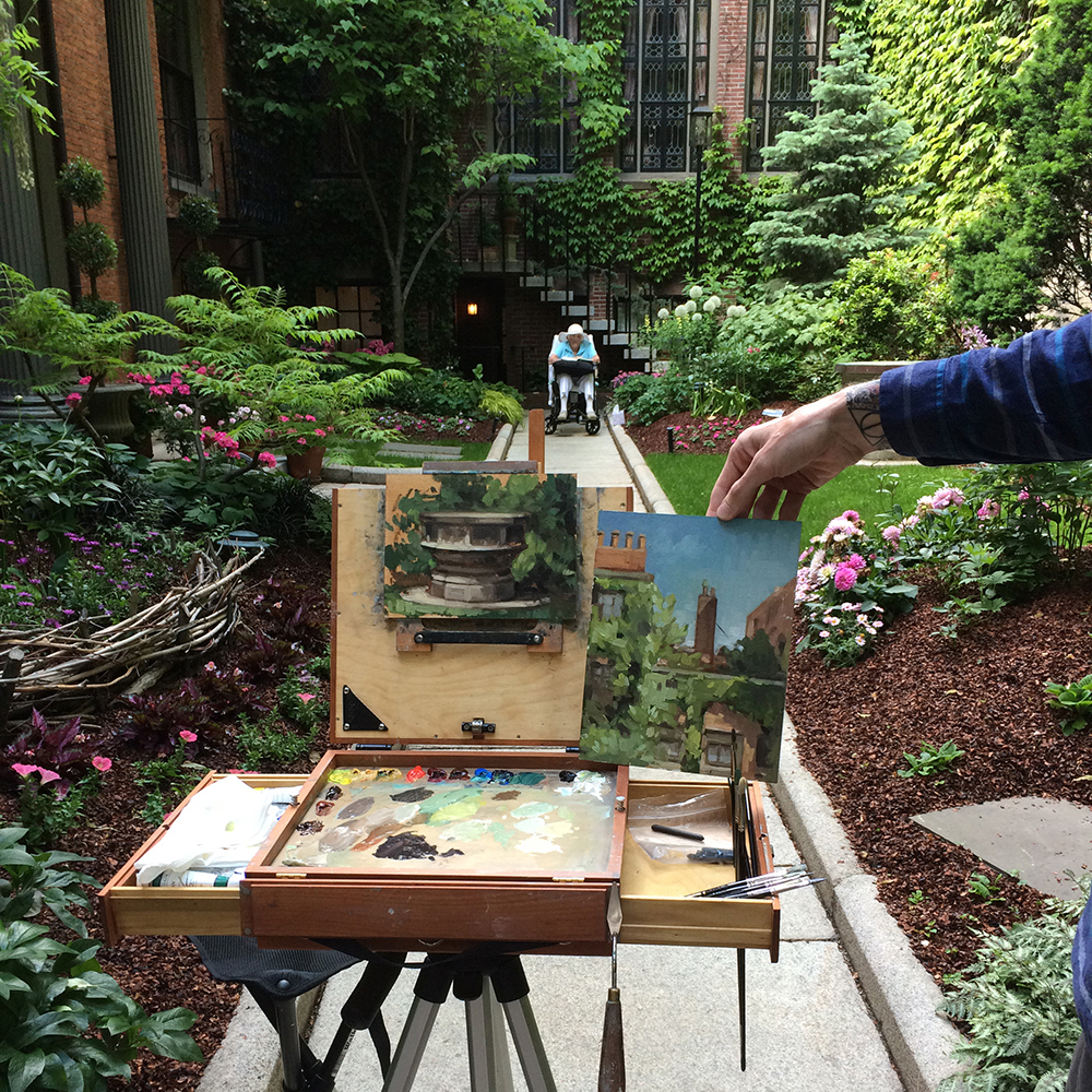 Tony Bevilacqua's two paintings in the 29 Chestnut Street garden