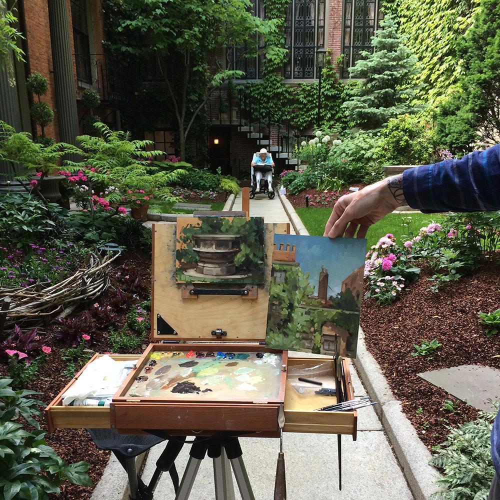 Tony Bevilacqua's two paintings in the 29 Chestnut Street garden