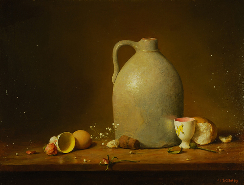'Grey Jug with Egg Cups', 18 x 24, Oil on Linen, SOLD