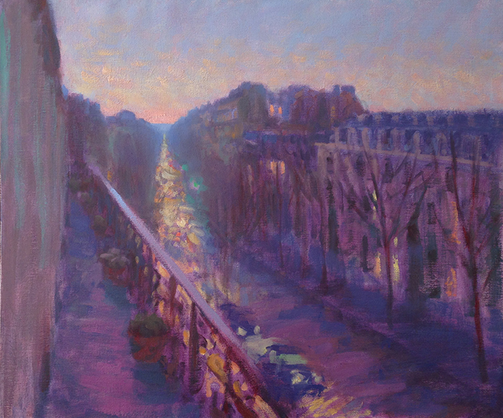 'Boulevard at Dusk', 22 x 26, Oil on Linen, SMG ID #569
