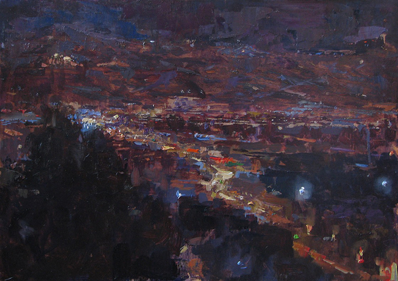 'Athens Nocturne', 10 x 14, Oil on Panel, SOLD