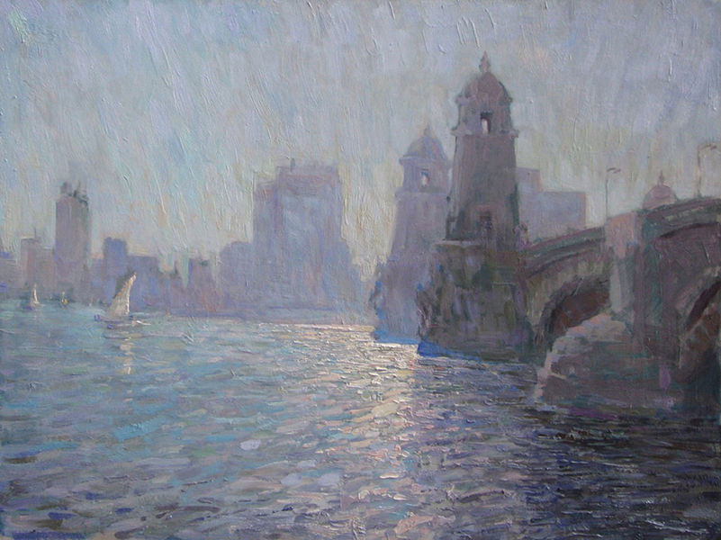 'Longfellow Bridge, Glare Effect', 18 x 24, Oil on Panel, SOLD