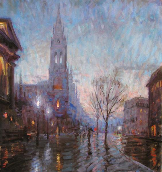 'Twilight, Berkeley Street', 30 x 28, Oil on Linen, SOLD