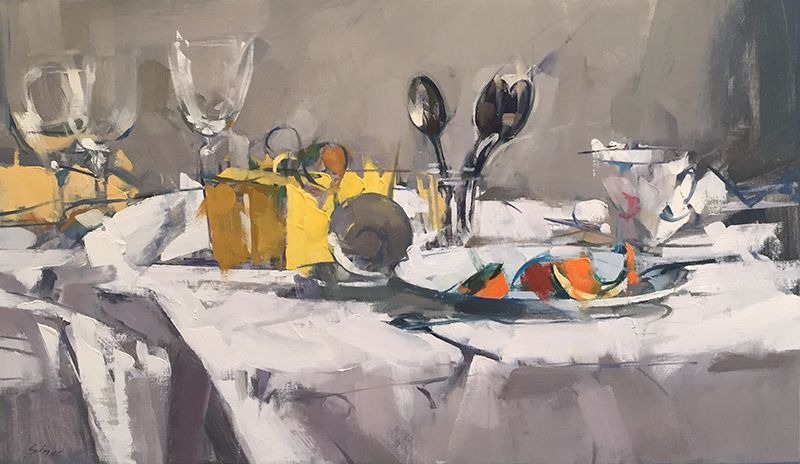 'Yellow Box & Spoons', 14 x 24, Oil on Linen, SMG ID #926