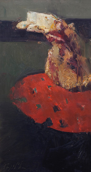 'Red Rug', 24 x 12, Oil on Panel, SMG ID #991