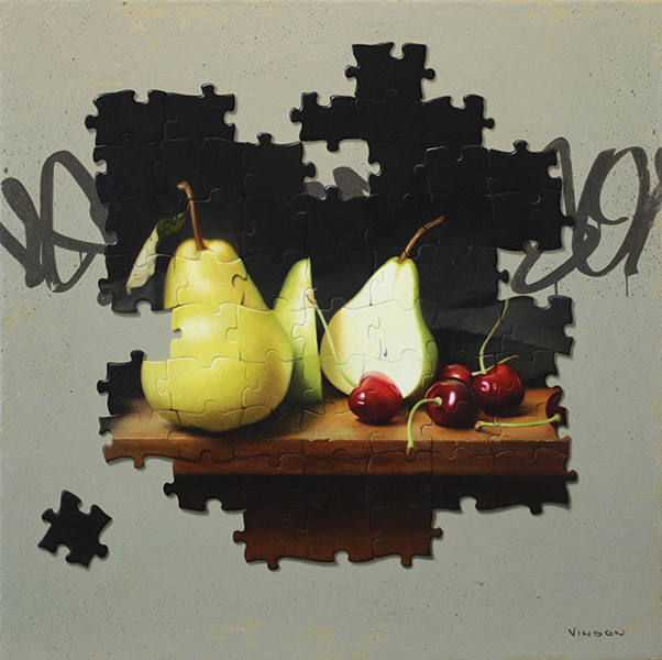 'Pieces of Fruit', 10 x 10, Oil on Panel, SOLD