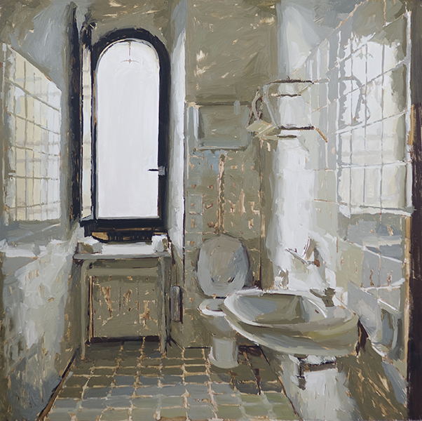 'Italian Bathroom', 30 x 30, Oil on Panel, SOLD