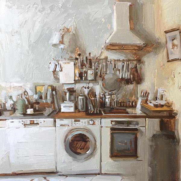 'Parisian Kitchen Study', 12 x 12, Oil on Panel, SOLD
