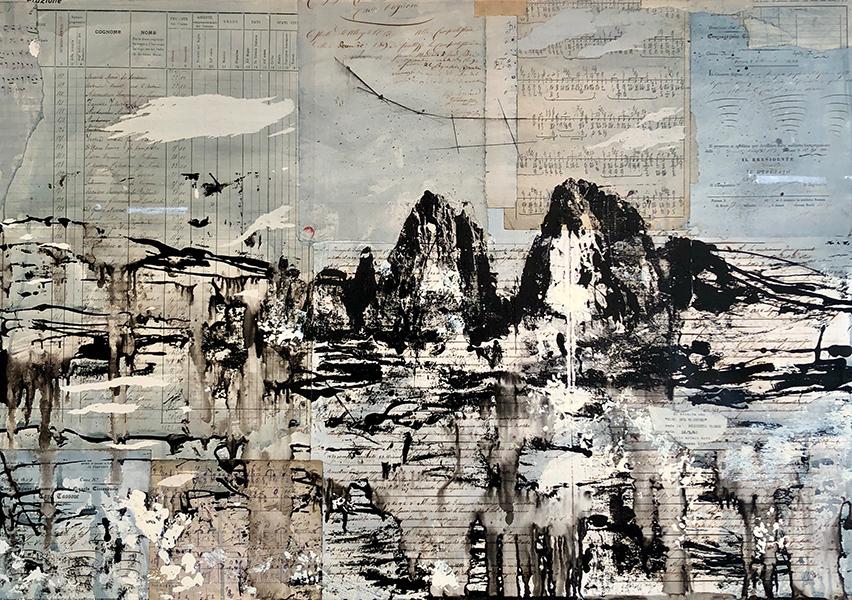 'Lunar Landscape 2', 28 x 40, Oil & Old Paper on Canvas, SOLD