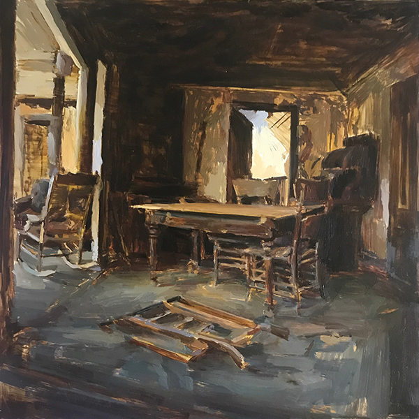 'Bodie Interior', 12 x 12, Oil on Panel, SOLD