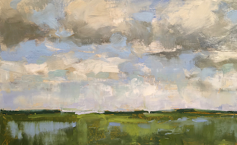 'Low Country Clouds', 8 x 12.75, Oil on Panel, SMG ID #