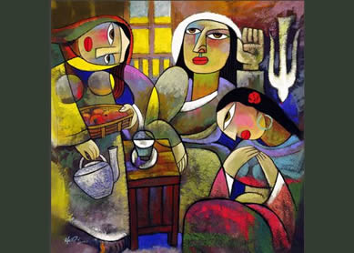 He Qi, Mary and Martha , undated 21st century.