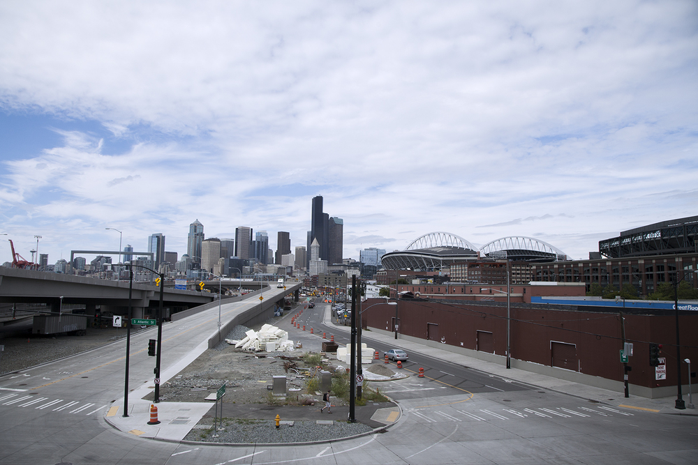 And whether you are headed home, or going to a Mariner's game - it's all pretty easy to access.  (view from the studio's northwest facing windows - stadiums and I-5 to your right, Hwy 99 and downtown to your left.)