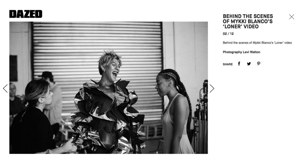 Behind the Scenes Photography for Mykki Blanco, featured on  DAZED Digital