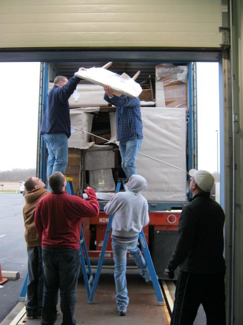 Unloading begins