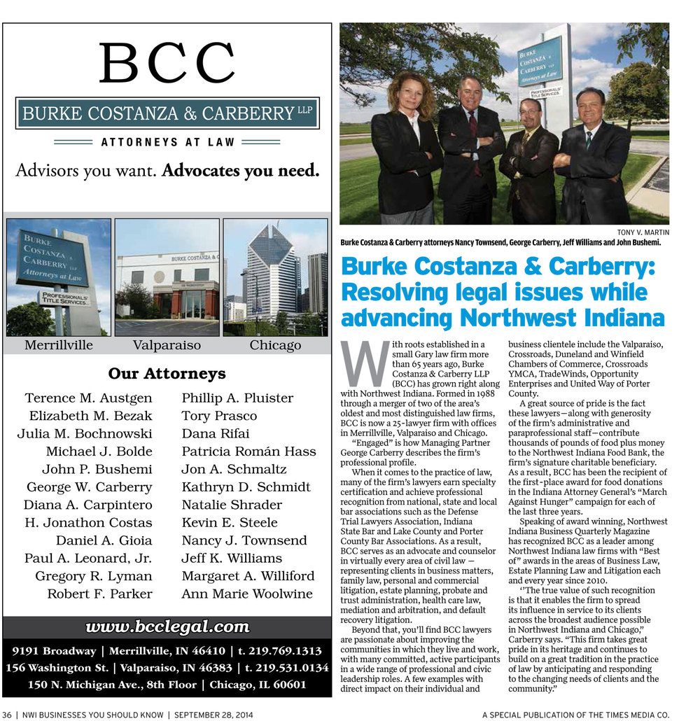 Our firm's story featured in The Times of Northwest Indiana on Sept. 28, 2014