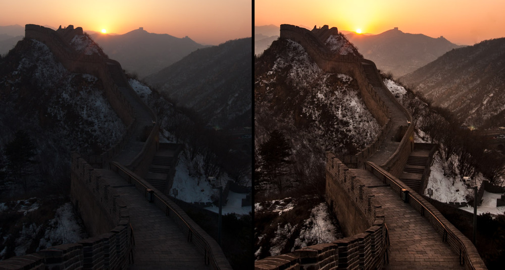 Badaling Great Wall, Before & After postprocessing
