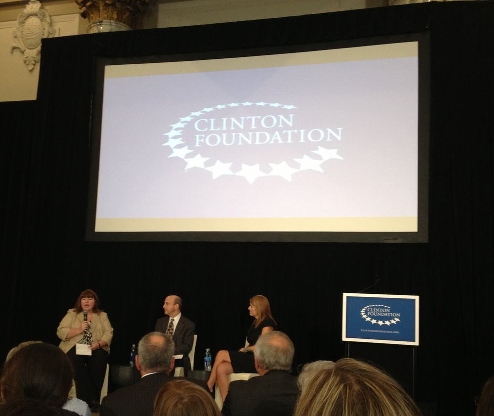 From right: Ginny Ehrlich, CEO,  Dr Mike Sokol, Head of Wellness , Sanofi US and Kristine Mullen (speaking), Director of Innovation for Humana's Employer Group Segment