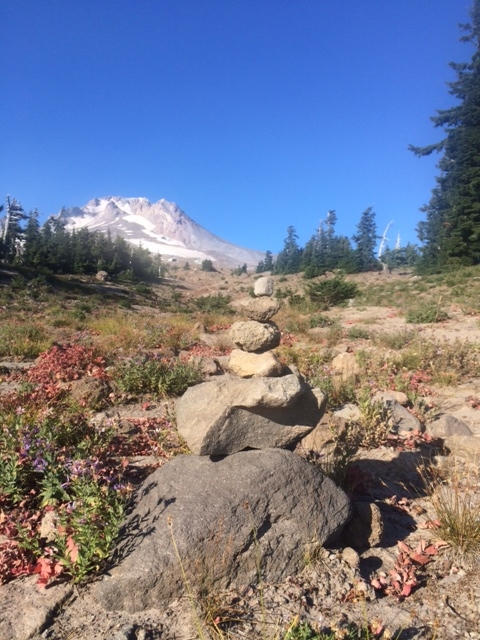 A cairn, or pile of rocks guiding a hike on Mount Hood, Oregon.