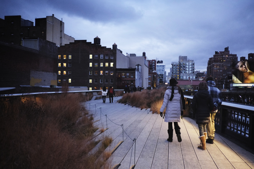 Dusk on the Highline. ISO 2500, f2, 1/280 at 18mm.