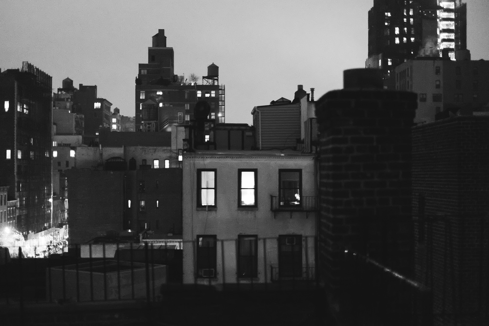 Chelsea Rooftop. ISO 6400, f1.4, 1/45 at 35mm.