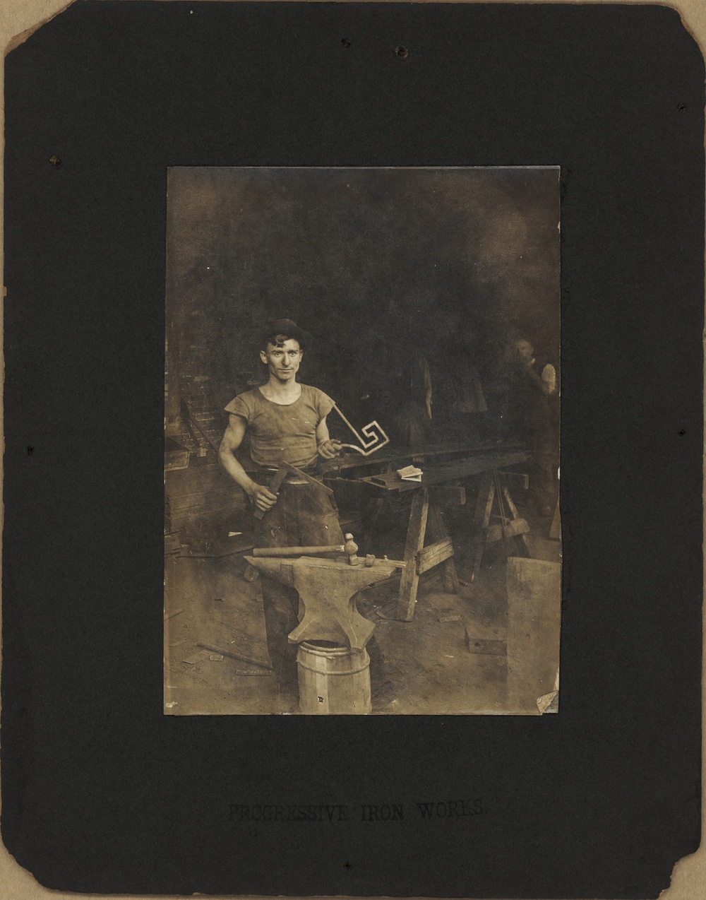 1910s New York Joseph Acquiste, blacksmith at Progressive Iron Works.