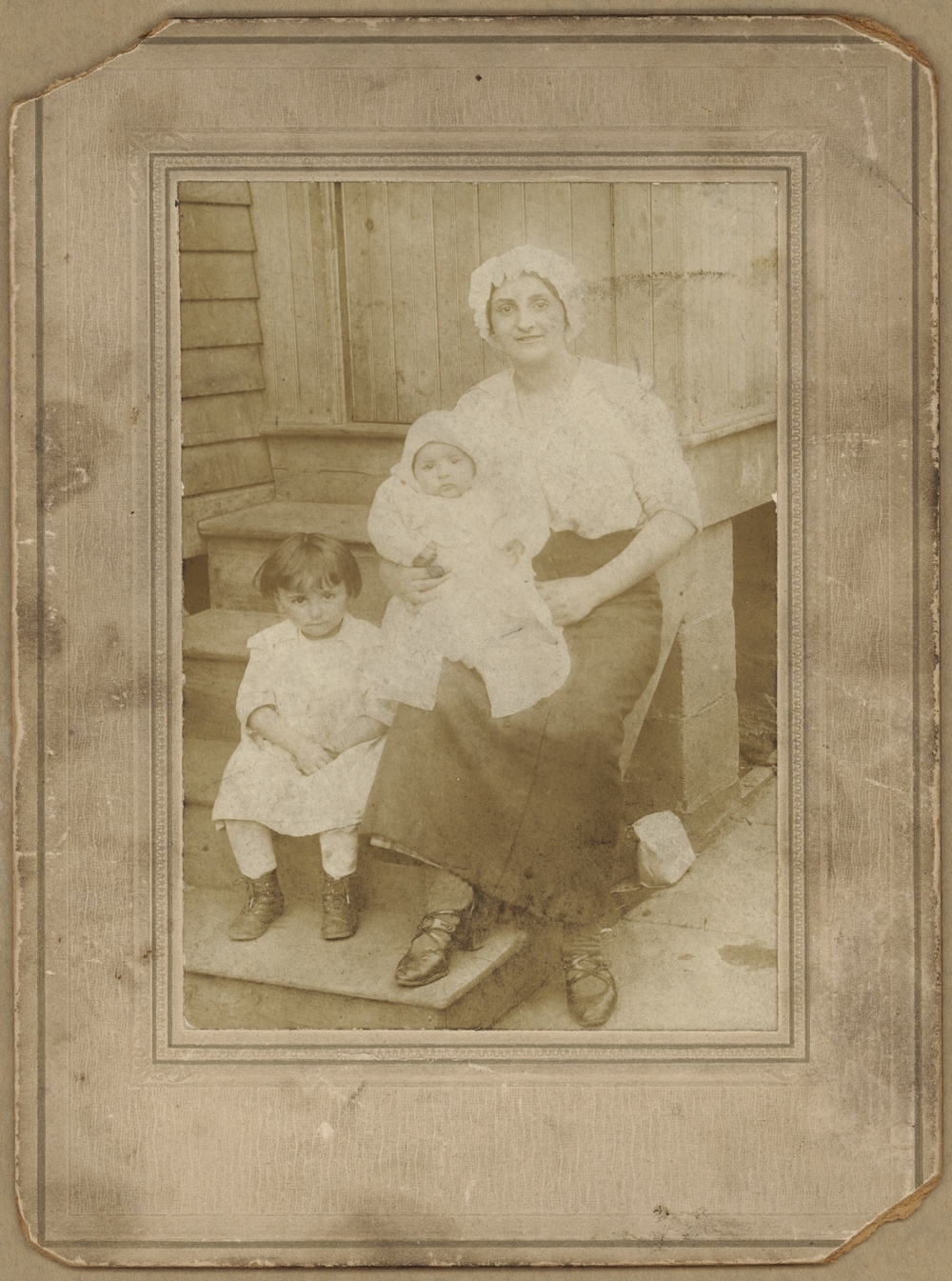 1920s Bayonne, NJ Lucy Acquiste [mother], oldest daughter Mildred, in arms Rosalie [my grandmother].