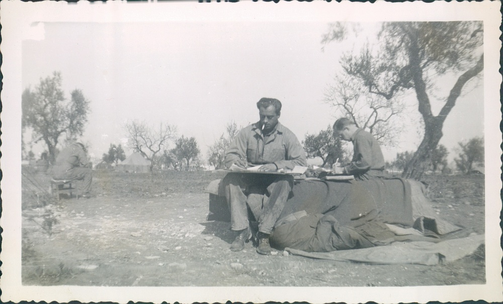 July 1944 Italy Writing letters to home.