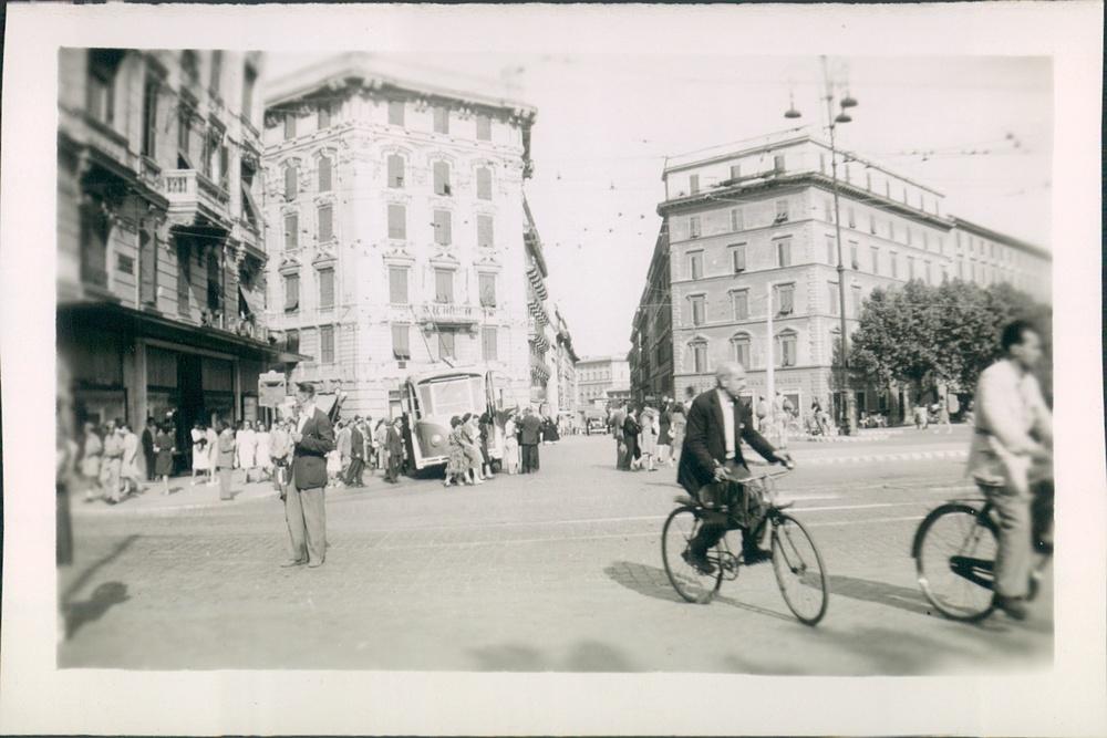 1944.A street scene,Rome, Italy.