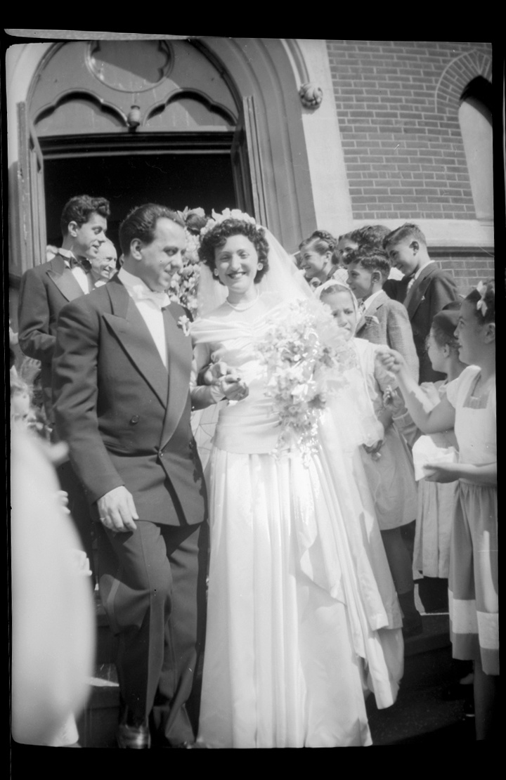 June 21st 1947 Bayonne, NJ Ernest & Rosalie Carbone, Wedding day. Pictured: Ernest, Rosalie [front]. Back: Frank Carbone [left], Detommaso boys [cousins, right].