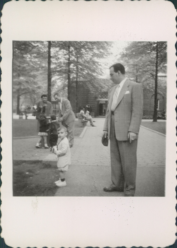 1951 Staten Island Zoo Ernest Carbone and son 'little' Ernie [my father] at Staten Island Zoo. Cousins Mildred, Lou, and children[background].
