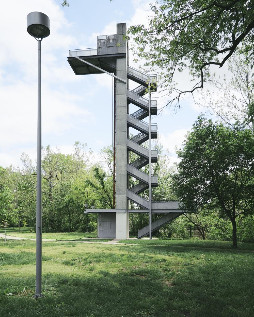 Mill Race Park is an 86-acre downtown riverfront park. Landscape design by Michael Van Valkenburgh and structures designed by Stanley Saitowitz.