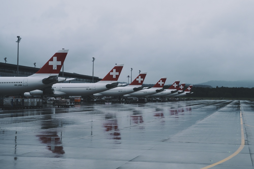 Swiss Air party at Zurich airport.