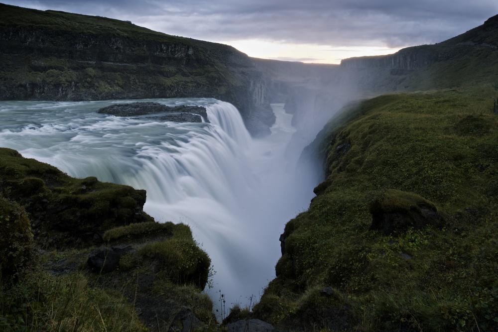 Gullfoss, dusk.  Nikon: f11 @ 24mm, 2 seconds, ISO100