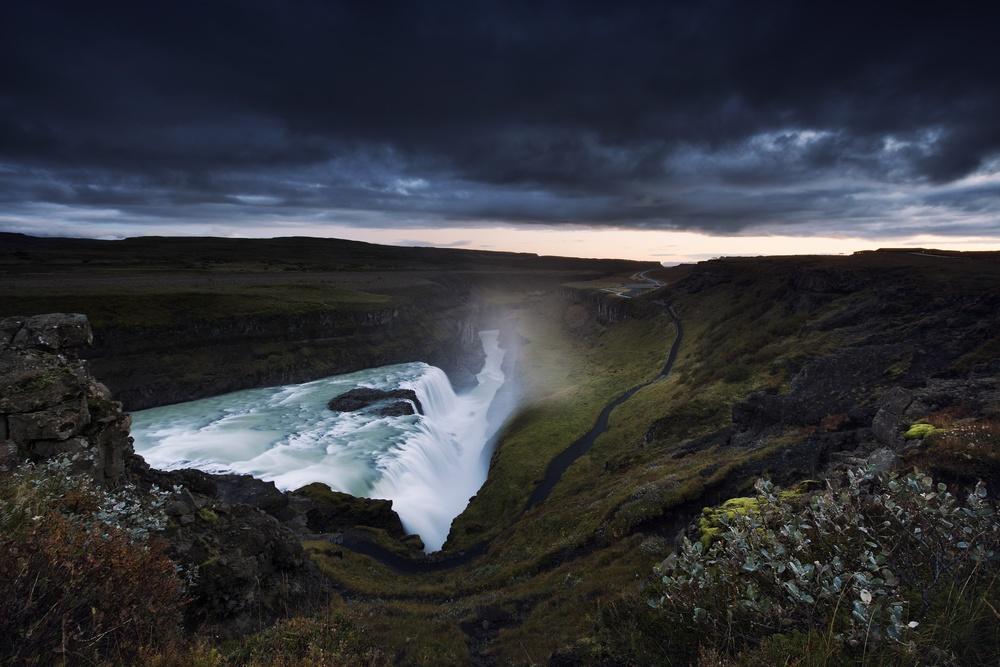 Gullfoss, dusk. Nikon: f11 @ 16mm, 15 seconds, ISO 100
