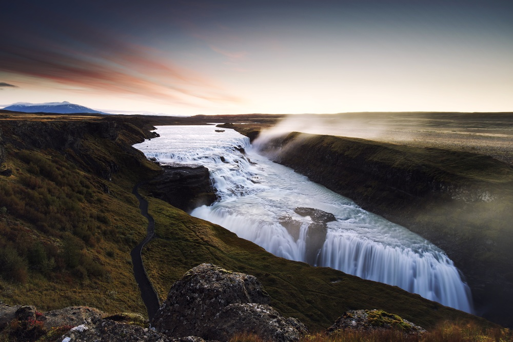 Dawn at Gullfoss.  Nikon: f11 @ 20mm, 3 seconds, ISO100