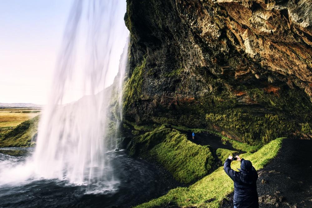 Behind Seljalandsfoss.   Nikon: f16 @ 24mm, 1/5, ISO100