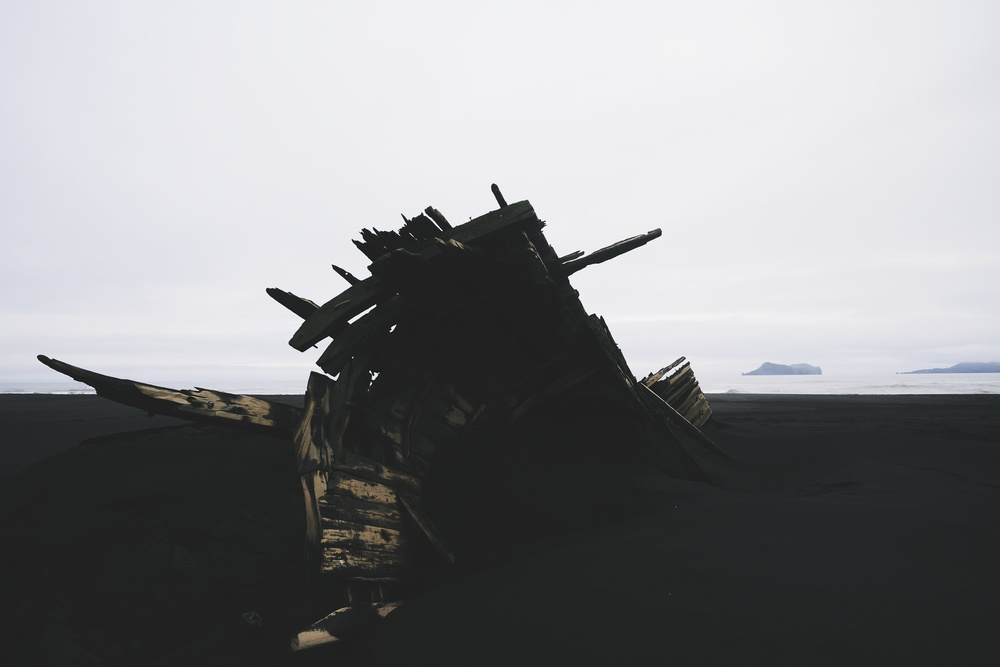 Shipwreck on the black beaches near Vestmannaeyjar.