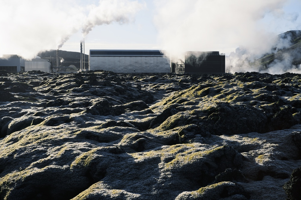 Geothermal power plant set in a lava field.