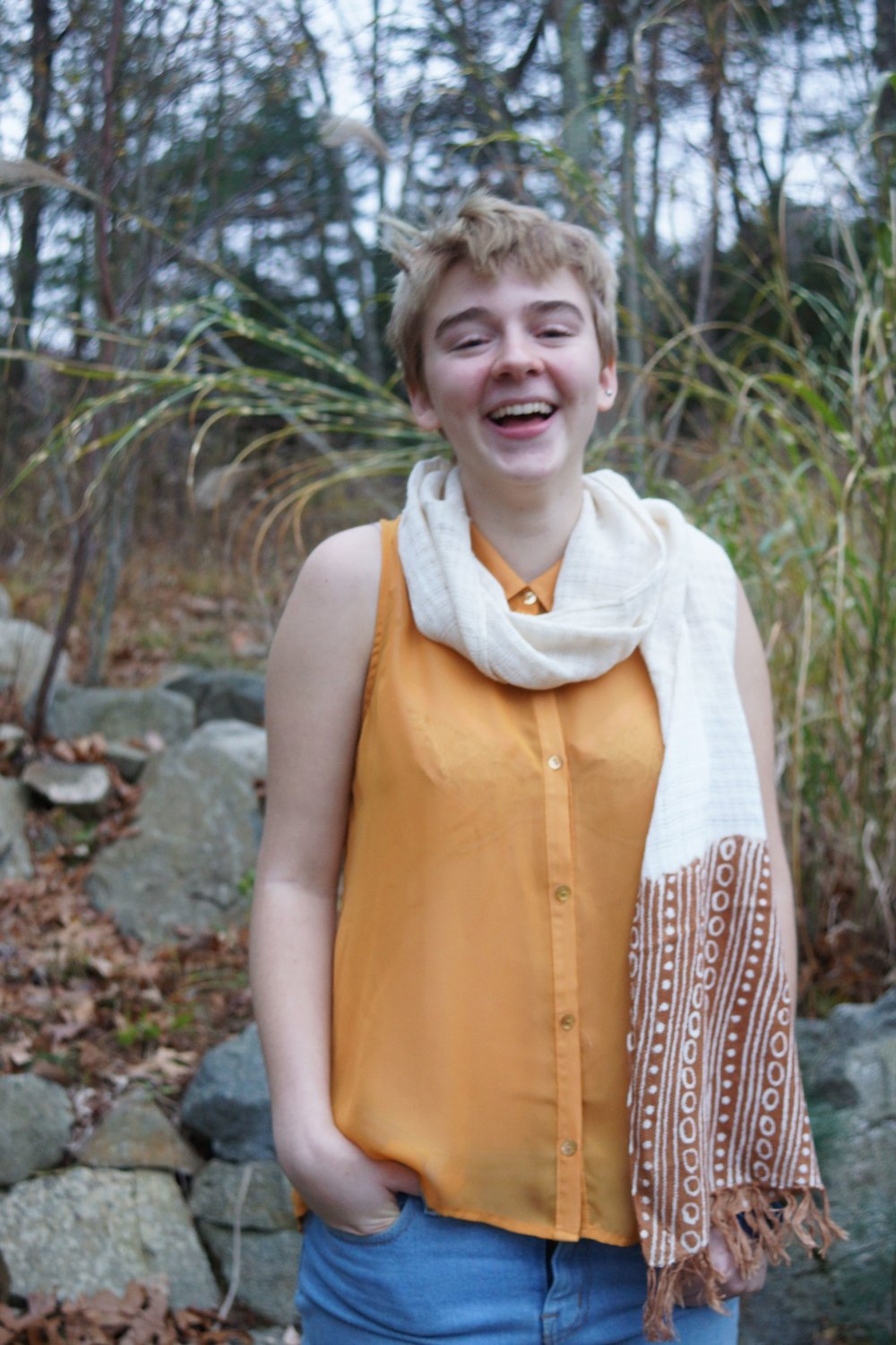 On International Women's Day, Rubia will feature hand-dyed bogolan (mudcloth) and indigo scarfs in a variety of natural colors. Malian women and young artists made them out of Helvetica-certified 100% organic cotton.  (Model: Riley Hellinger; Photo credit: Jessica Antoline)