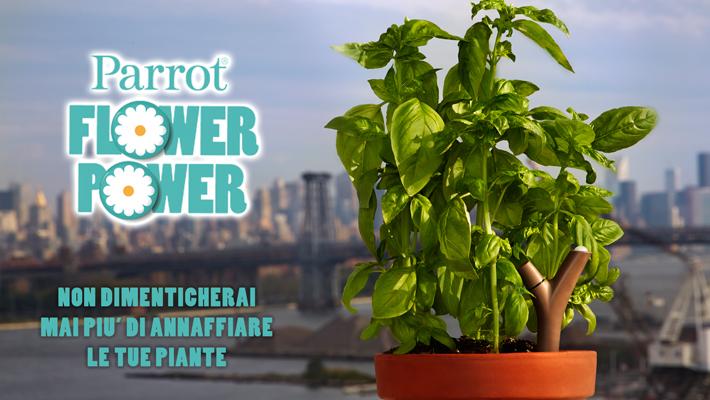 Da Parrot, un dispositivo che permette un contatto diretto con le piante.  Flower Power è un sensore wireless che utilizza una tecnologia all'avanguardia per analizzare i parametri delle piante.
