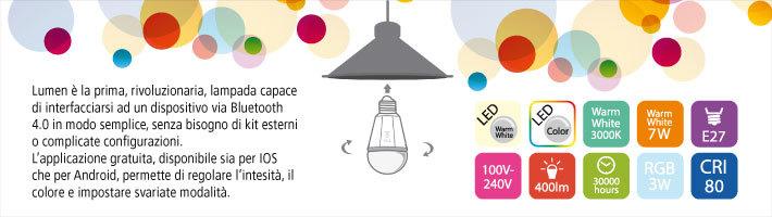 Lampada bluetooth interfacciabile con dispositivi IOS o Android. L'APP permette di controllare più lampade contemporaneamente. Consumo 7W, luminosità 400 lumen. Spettro colore regolabile da APP. Modalità party, relax e atmosferica. Permette di impostare il risveglio con luce crescente.