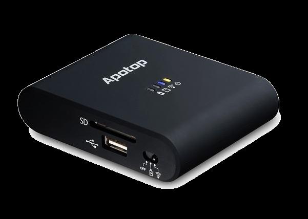 Condivide i dati da USB o porta SD, e permette di copiarci foto e immagini, senza passare per itunes. Fino a 3 utenti connessi, ora 3 volte più veloce. Batteria al litio di 5200mAh, può fungere da batteria supplementare. Può creare una rete internet Wi-Fi da cavo ethernet. Compatibile IOS e Android.