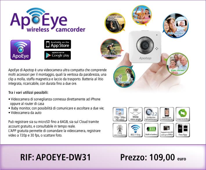 Videocamera Wi-Fi ultra compatta comprensiva di accessori per montaggio. Funge da videocamera di sorveglianza, baby monitor, videocamera da auto e altro. Grandangolo e ottima resa a basse luci, può registrare in loop su microSD o sul Cloud tramite router di casa.